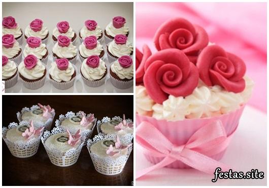 Cupcake para Casamento com rosas