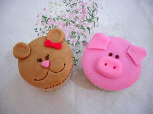 Cupcakes Decorados ursinha e porquinho