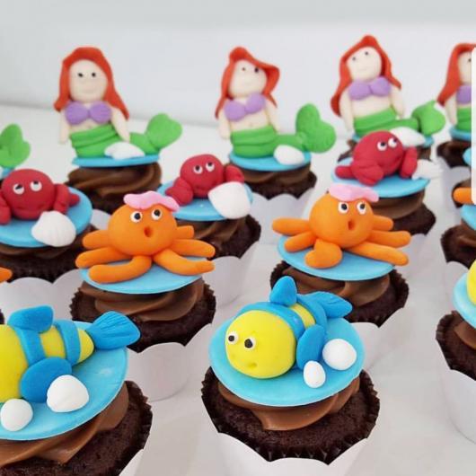 Cupcakes Decorados Pequena Sereia