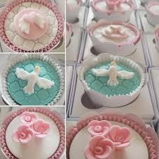 Cupcakes Decorados para batizado rosa e zul