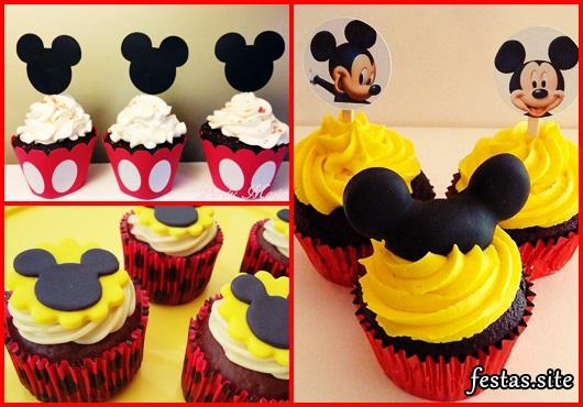 Cupcakes Decorados do Mickey com aplique de pasta americana e topper