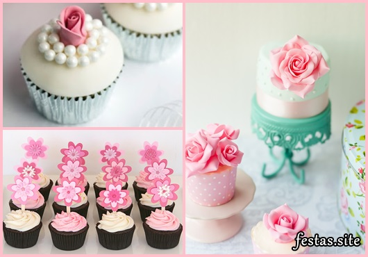 Cupcakes Decorados com aplique de pasta americana e topper de flores
