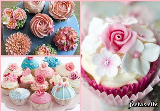 Cupcakes Decorados com flores