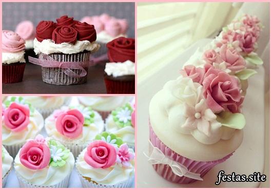 Cupcakes Decorados com flores de glacê