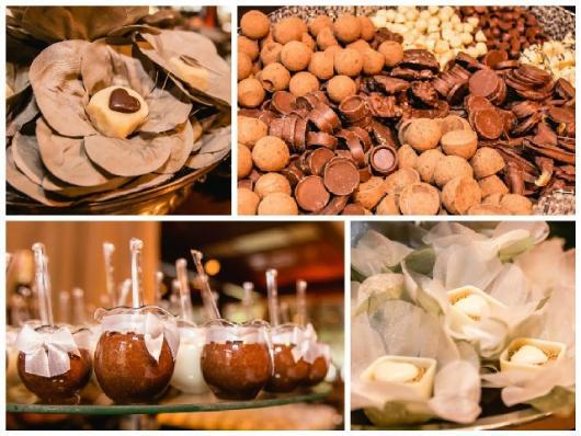 Doces para Casamento rústico cestinha de chocolate branco com doce de leite