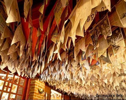 bandeirinhas de jornal