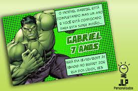 Festa do Hulk modelo de convite cartão verde