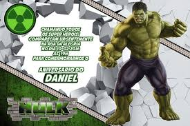 Festa do Hulk modelo de convite cartão cinza e verde