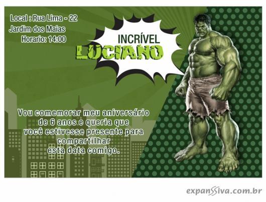 Festa do Hulk modelo de convite verde escuro com personagem no canto