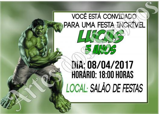 Festa do Hulk modelo de convite verde com quadro informativo branco