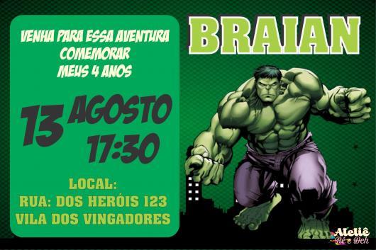 Festa do Hulk modelo de convite verde e preto