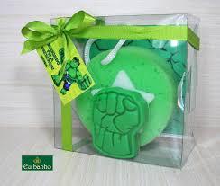 Festa do Hulk modelo de lembrancinha sabonete com esponja