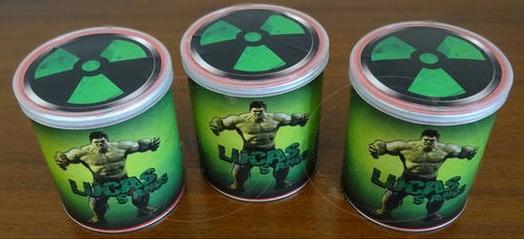 Festa do Hulk modelo de lembrancinha com lata