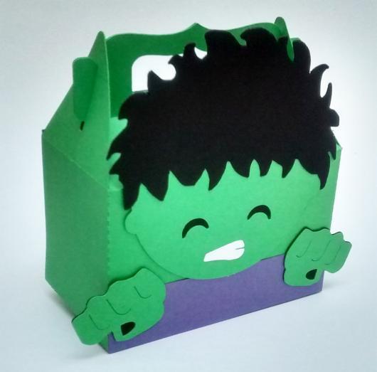 Festa do Hulk modelo de lembrancinha caixinha de EVA