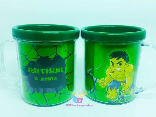 Festa do Hulk modelo de lembrancinha copo personalizado