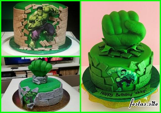 Festa do Hulk modelos de bolo decorado com pasta americana e aplique de papel arroz