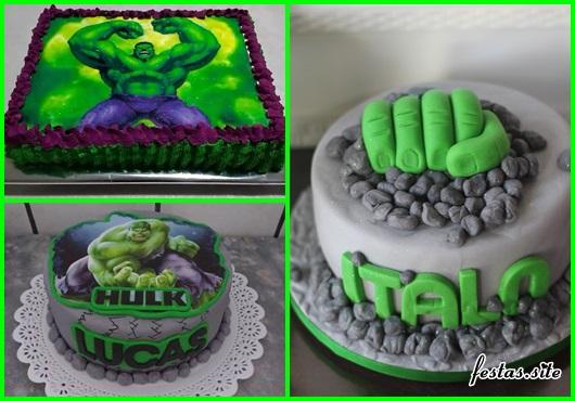 Festa do Hulk modelos de bolo decorados com pasta americana cinza e papel arroz