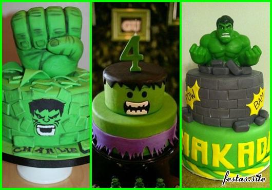 Festa do Hulk modelos de bolo decorado com pasta americana verde e topo no formato de punho