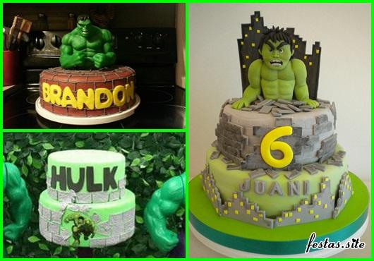 Festa do Hulk modelos de bolo com aplique de pasta americana no formato de muro