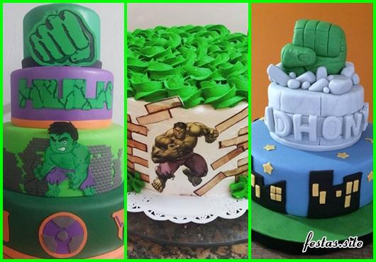 Festa do Hulk modelos de bolo decorado com chantilly verde e papel de arroz