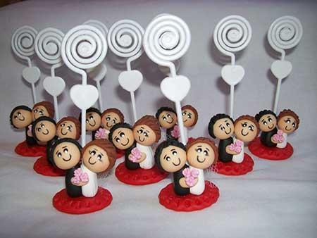 lembrancinhas de casamento de biscuit noivinhos para recado