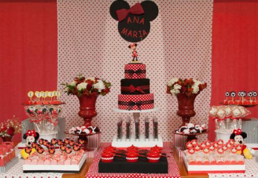 Mesversário decoração da Minnie com painel de tecido