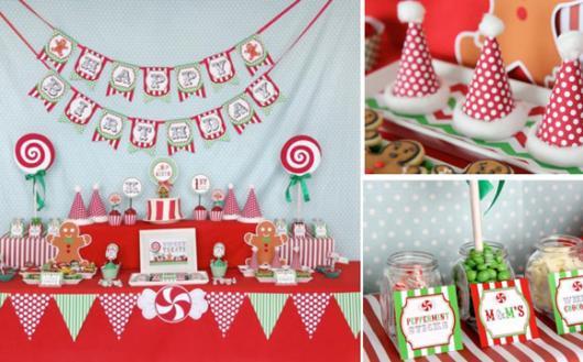 Mesversário decoração Natal ccom bandeirinhas de papel