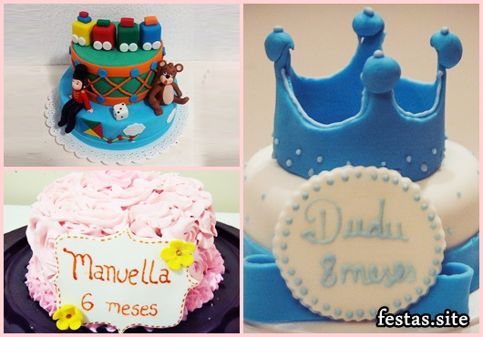 Mesversário bolos decorados com chantilly, ursinho e príncipe