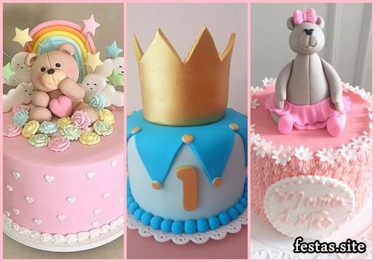 Mesversário bolos decorados ursinho rosa e príncipe