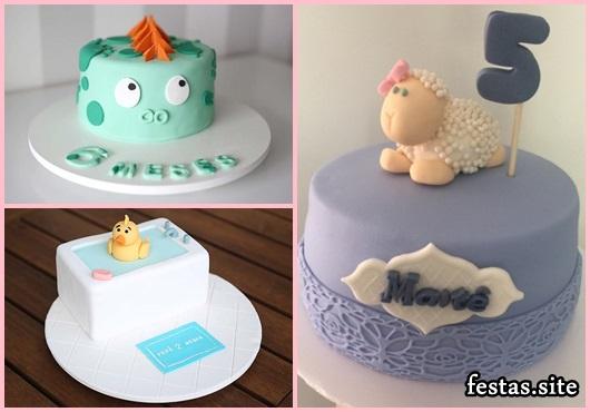 Mesversário bolos decorados patinho na banheira, ovelhinha e dragãozinho
