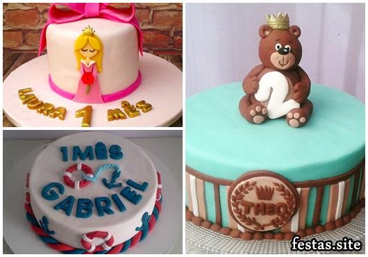 Mesversário bolos decorados marinheiro, princesa e ursinho