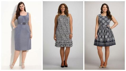 Montagem com três vestidos para bodas de prata plus size.