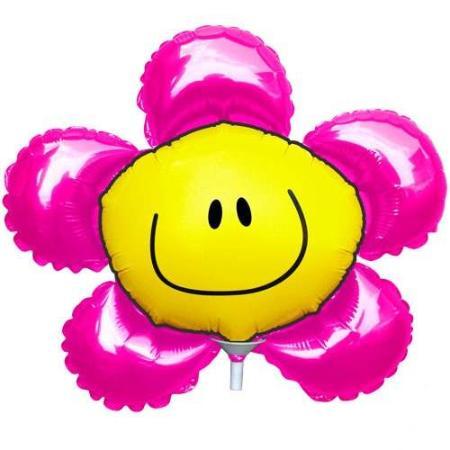 Balões Metalizados no formato de flor rosa