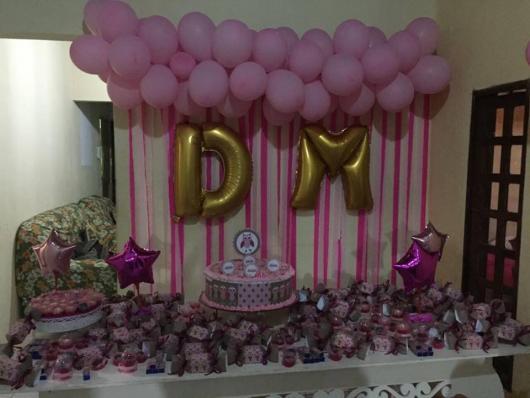 Balões Metalizados decoração de festa com tema rosa