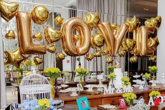 Balões Metalizados decoração de noivado