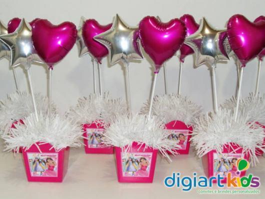 Balões Metalizados pequenos rosa e dourado com formato de coração