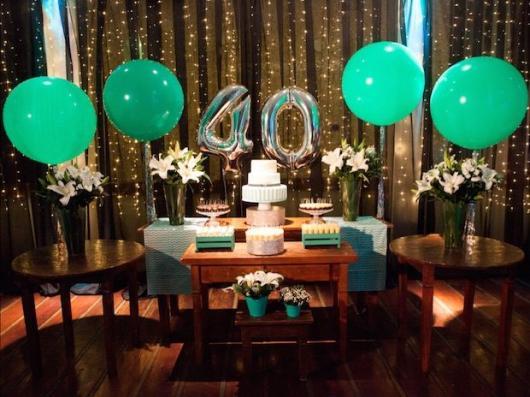 Balões Metalizados decoração de aniversário de 40 anos