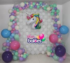 Balões Metalizados em decoração de festa com tema Unicórnio
