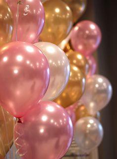 Balões de Festa metalizados rosas e brancos