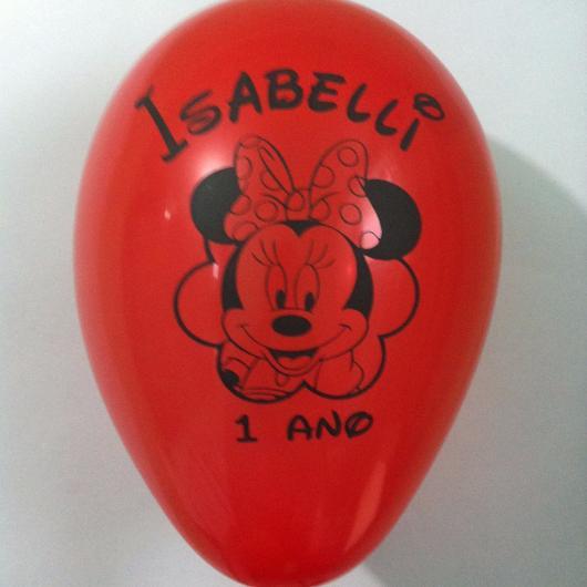 Balões de Festa personalizados com desenho da Minnie