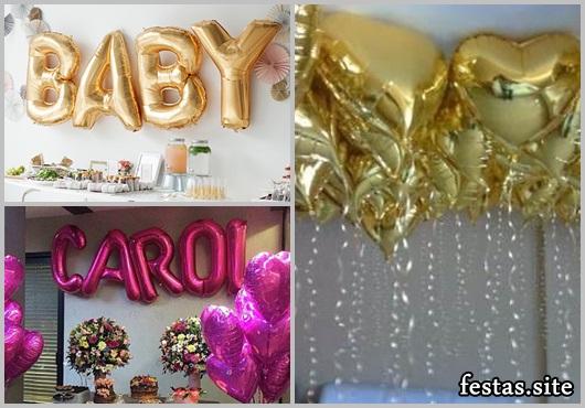 Balões Metalizados decoração de festa feminina