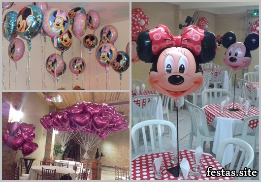 Balões Metalizados decoração de festa com tema Minnie