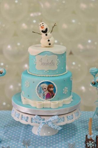 Bolo de Aniversário Infantil da Frozen com pasta americana