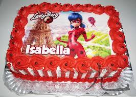 Bolo de Aniversário Infantil Ladybug quadrado com papel de arroz