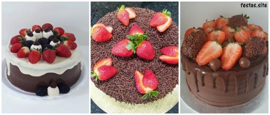 ideias para bolo de chocolate com morango