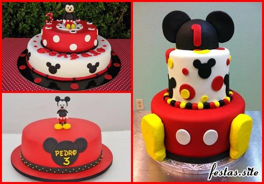 Bolo de Aniversário Infantil modelos do Mickey