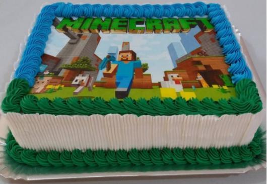 Bolo de Aniversário Simples com papel de arroz Minecraft