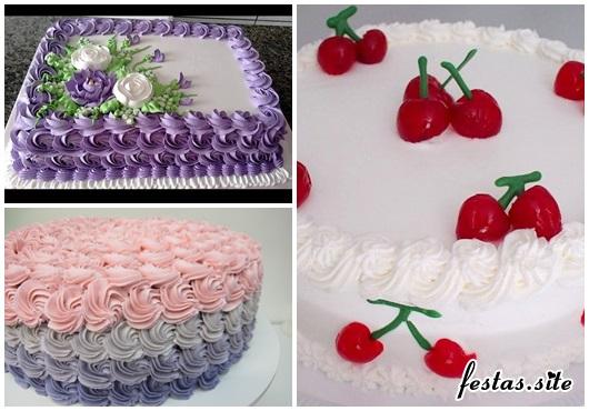 Bolo de Aniversário Simples decorado com chantilly e cerejas