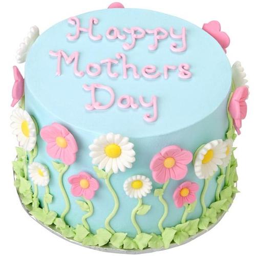 Bolo Dia das Mães redondo azul decorado com margaridas brancas e rosas