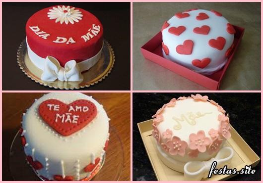 Bolo Dia das Mães mini bolo decorado com frase te amo mãe e coração